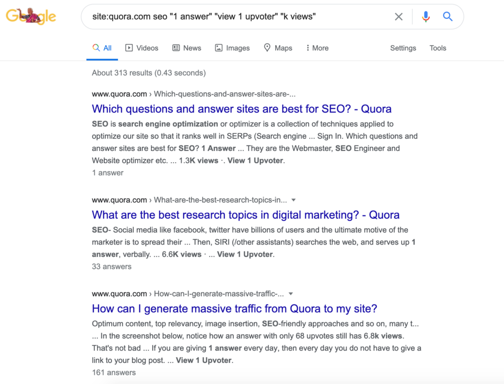 Results for site quora.com seo 1 answer view 1 upvoter k views