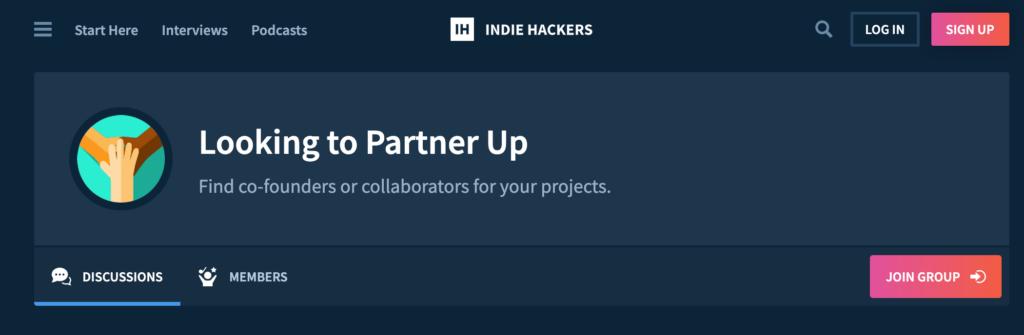 IndieHackers - Looking to Partner Up